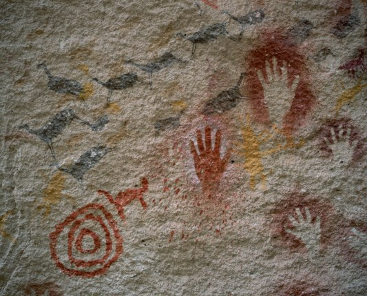 Cave Painting of Hands and Birds near Rio Pinturas